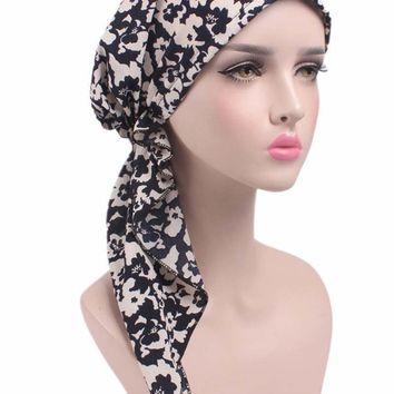 New women head Scarf Chemo Hat Turban Pre-Tied Headwear Bandana headscarf Tichel for Cancer various colors