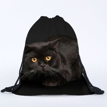 Drawstring Closed Emoji Black Cat 3D Printed Backpack
