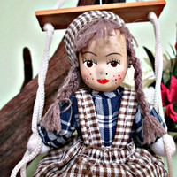 Vintage Handmade Doll On a Swing, Home Decor, Wall Decor, Gift, Collectible Doll