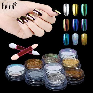 Belen UV Gel Nail Polish Metallic Mirror Effect Holographic Chrome Powder Sponge Stick For Gel PolishNails Glitter Art Varnish