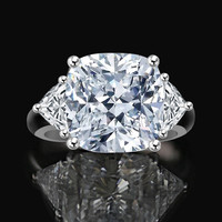 10 CT. Radiant Cushion Classic w/Zirconite triangular sides (1 CT. TW.) ring with triangular sides Simulated Diamond - Diamond Veneer. 635R71199