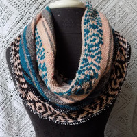 Teal and Coral Mexican Blanket Small Cowl Scarf- Free Shipping to Continental US