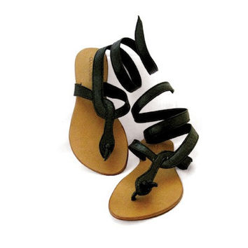 Cocobelle Black Snake Wrap Sandals | Mermaids Boutique