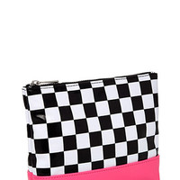 Checkered Makeup Pouch