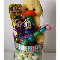 Easter candy jar,  candy jar,  Easter mason jar,  Easter chocolate,  Easter stuffed animal,  Easter bunny