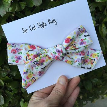 Floral Unicorn Tie knot hair bows