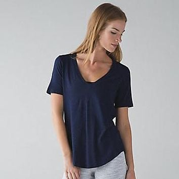Lululemon Women Yoga V-Neck Sport Tunic Shirt Top Blouse