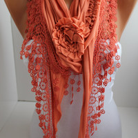 Dark Salmon Cotton Rose Shawl/ Scarf - Headband -Cowl with Lace Edge