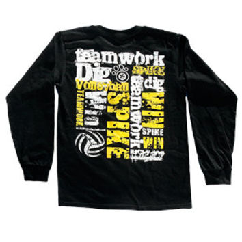 Volleyball Teamwork Long Sleeve T-shirt - Black - Lucky Dog Volleyball