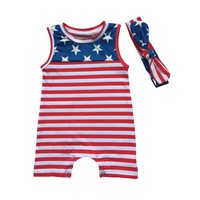 4th of July Rompers Baby Jumper Suits Girls Clothes