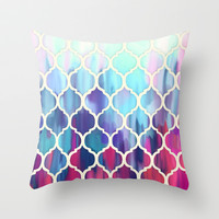 Moroccan Meltdown - pink, purple & aqua painted tiles Throw Pillow by Micklyn