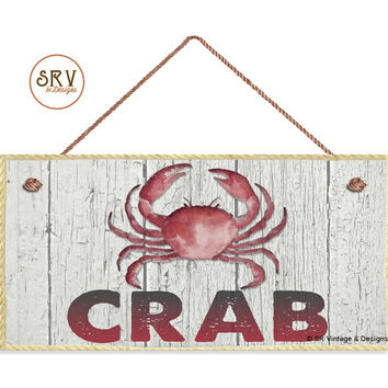 "CRAB Sign, Weathered Beach Wood and Rope Border Graphic, Weatherproof, 5""x10"" Wall Plaque, Beach House, Ocean and Sea, Made To Order"