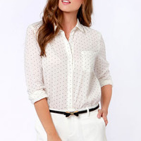 Spot Me Ivory Polka Dot Button-Up Top
