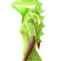 Green Holographic Dragon Spiked Hoodie Romper with Sharp Shoulders    -E8031