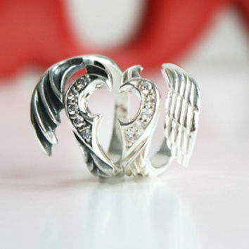 Wing of heart (ฺWhite) Silver Ring Sterling Ring .925 Silver Ring Personalized Ring