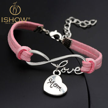 "New fashion hot selling ""mom"" for mother's day gift & Bangles woman fashion Jewelry Handmade Wristband Leather Charms bracelets"