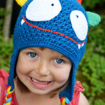 Handmade Crochet Monster hat, Girls hat, Boys hat, Kids hat, little Monster hat, Character hat