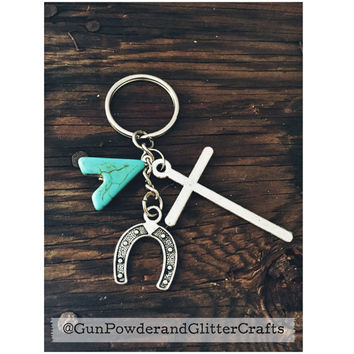 Cowgirl Keychain Teal Stone, Cross and Horse Shoe