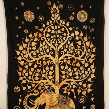 Indian Elephant Tree Of Life Tapestry, Mandala Wall Hanging, Hippie Psychedelic, Bed sheet (TWIN SIZE, 100% PREMIUM QUALITY).