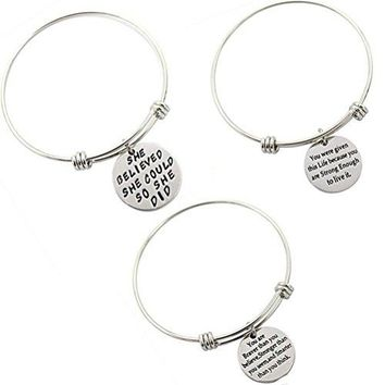 TOPVRA Women Message Charm Pendant Bracelet Engraved Motivational Inspirational Charm Beads Pendant Wrap Stainless Steel Bracelets 1Set Adjustable Wire Bangle B1SET3PC Steel