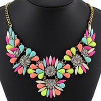 Bib Statement Necklace Vintage Flower Choker Necklace Chunky Necklace Rhinestone Necklace