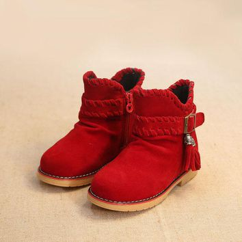 DCCKIX3 Children Korean Dr Martens Winter Suede Tassels Cotton Stylish Princess Shoes Boots [4919281028]
