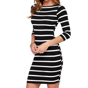 2017 Spring Summer Women Round Neck Fashion Black and White Striped Long Sleeve Straight Plus Size Casual Dress Vestidos