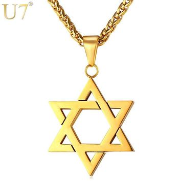 U7 Jewish Magen Star of David Necklace Men/Women Bat Mitzvah Gift Israel Judaica Hebrew Jewelry Hanukkah Pendant Gold Color P723