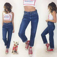 RARE Vintage Levi's 1970's ORANGE Tab High Waisted Boyfriend Jeans With Leather Patch