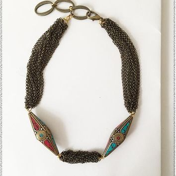 Selma Turquoise + Red Copper Necklace