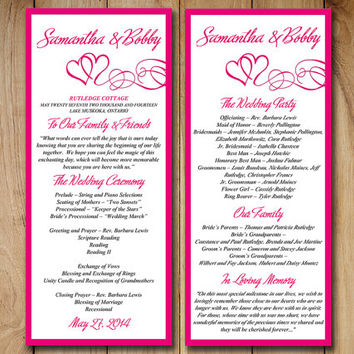 Delightful DIY Wedding Program Template Printable Wedding Order Of Ceremony Hot Pink  Fuchsia  To Printable Program Templates