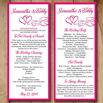 Best wedding ceremony program templates products on wanelo diy wedding program template printable wedding order of ceremony hot pink fuchsia heart swirl pronofoot35fo Images