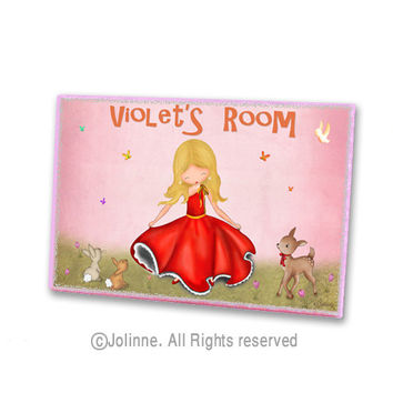 Nursery door sign, kids art, personalized door plaque, dancing girl, childrens art