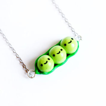 Peas in a pod necklace - handmade polymer clay jewelry