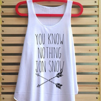 You know nothing jon snow shirt Game of thrones shirt vintage tank top singlet clothing vest tee tunic - size S M