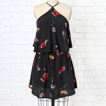 Black Floral Print Halter Dress | NRFB