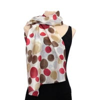 Pure Silk Scarf with Polka Dots Pattern - Weightless Scarf, Silk, Gift, Cherry, beige, Bordeaux, Scarves, Scarf , fairy, gift for her, brown