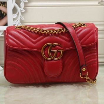 Gucci Women Fashion Chain Leather Crossbody Satchel Shoulder Bag Red G