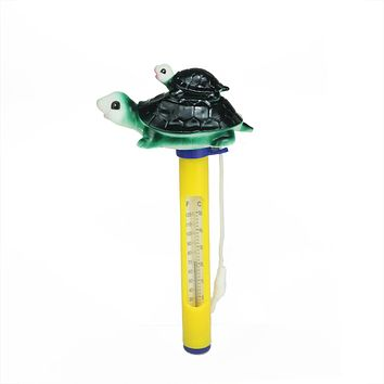 "9"" Turtle Family Floating Swimming Pool Thermometer with Cord"