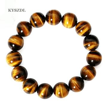 KYSZDL High quality Tiger Eye Love Buddha Bracelets & Bangles Trendy Natural Stone Bracelet For Women Famous Brand Men Jewelry