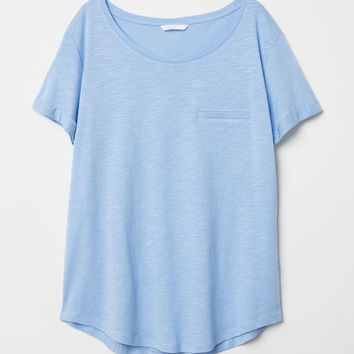 Slub Jersey T-shirt - Light blue - Ladies | H&M US