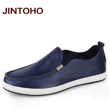 Slip On Genuine Leather Loafers Casual Men Flats Shoes Fashion Men Soft Leather Shoes Quality Men Shoe
