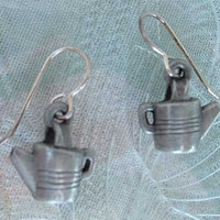 Pewter Teapot Earrings Kidney Wire Style Jewelry