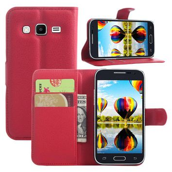 10 Pcs/Lot PU Leather Cover Case For Samsung Galaxy Core Prime/G3608 Flip Protective Mobile Phone Shell Back Cover Skin