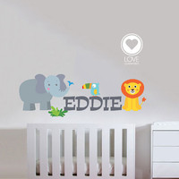 NAME, LION, ELEPHANT and Toucan Fabric Wall Decal- Removable & Reusable Fabric vinyl- Jungle animals with baby name decal - 88
