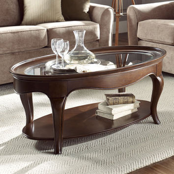 American Drew Cherry Grove NG Oval Glass Cocktail Table in Brown