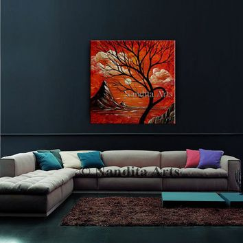 """Landscape Painting, Acrylic Painting """"72 Abstract Acrylic Painting on Canvas Red Sunset, Large Abstract Contemporary Art, Home Decor Nandita"""