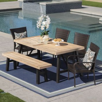 Porto Outdoor 6 Piece Acacia Wood Dining Set with Wicker Stacking Chairs
