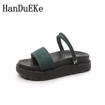 HanDuEKe Summer Genuine Leather Women Sandals Ladies Fashion Platform Sandals Students Beach Shoes Mixed Colors Women Slides