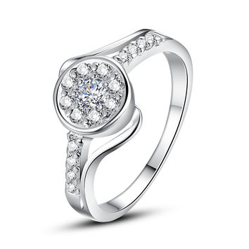 Clear Round Cubic Zirconia Silver Ring